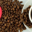 Coffee, coffee beans and red heart banner — Photo
