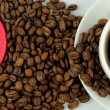 Coffee, coffee beans and red heart banner — Стоковая фотография