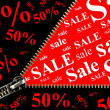 Sale placard with zipper opening concept  — Stock Photo