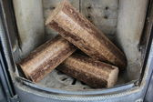 Hard wood briquettes — Stock Photo