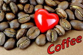 Coffee, coffee beans, red heart — Stock Photo