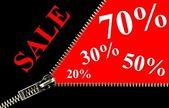 Sale placard zipper concept — Stock Photo