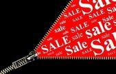 Sale placard zipper opening concept — Foto de Stock