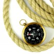 Old compass and rope — Stock Photo
