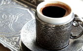 Turkish coffee with old traditional embossed metal cup and tray — Stock Photo