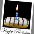 Donut and birthday candle on  polaroid photo look with sample text — 图库照片