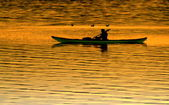 Silhouette kayaking at sunset — Foto Stock