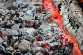Warm glowing embers with gray ash and coals — Stockfoto