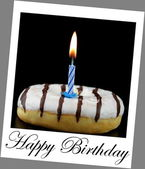 Donut and birthday candle on polaroid photo look with sample text — Stock Photo