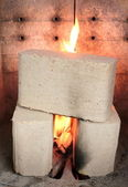 Wood briquettes burning in stove — Stock Photo