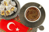 Turkish coffee and turkish delight — Stok fotoğraf