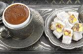 Turkish coffee and turkish delight — Stock Photo