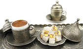 Turkish coffee and turkish delight — Stock Photo