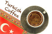 Turkish coffee and turkish flag — Stok fotoğraf