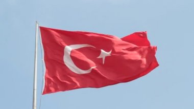 Waving Turkish flag. — Stock Video