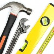 Various work tools on white background. — Stock Photo