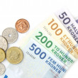 Danish kroner coins and folded banknotes — Stock Photo
