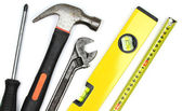 Various work tools on white background. — Foto de Stock