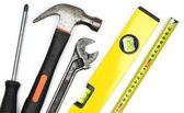 Várias ferramentas de trabalho no fundo branco. — Foto Stock