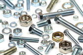 Close up various bolts, nuts, and washers — Stock Photo