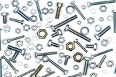Various bolts, nuts, and washers — Stock Photo