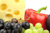 Cheese, red pepper and grapes . — Stock Photo
