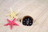 Seastars and compass — Stock Photo