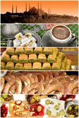 Turkish food and a variety of mosque — Stock Photo