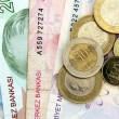 Turkish banknotes and coins — Stock Photo