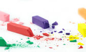 Crumbled colorful chalks — Stock Photo