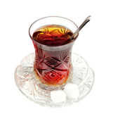 Turkish tea with traditional crystal glass — Stock Photo