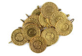 Gold coins. ( Turkish gold coins ). — Stock Photo