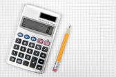 Calculator and lead pencil — Stock Photo