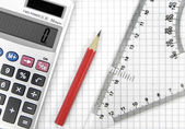 Calculator, lead pencil and ruler — Stock Photo