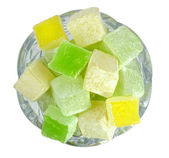Turkish Delight in glass bowl — Stock Photo