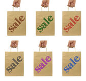 Shopping bags set with SALE text — Stock Photo