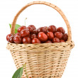Stock Photo: Sweet cherry in basket isolated on white