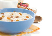 Oatmeal in bowl isolated on white — 图库照片