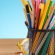 Back to school concept and office supplies on blue — Foto de Stock
