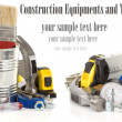 Tools and construction equipment on white — Stock Photo