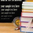 Back to school supplies isolated on black — Zdjęcie stockowe
