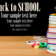 Back to school supplies isolated on black — Stock Photo