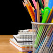 Back to school concept and office supplies on black — Stockfoto