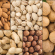 Set of nuts collage — Stock Photo