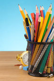 Back to school concept and office supplies on blue — Stock Photo