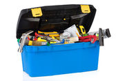 Tools in construction toolbox isolated on white — Stock Photo
