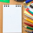Back to school and office supplies on wood — Foto de Stock