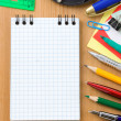 Back to school and office supplies on wood — Stock Photo #12650257