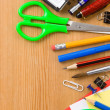 Back to school and supplies on wood — Stock Photo