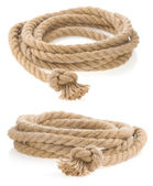Ship rope tied with knot isolated on white — Stock Photo